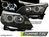 BMW E60/E61 03-07 LED ANGEL EYES H7/H7 BLACK Tuning-Tec Fényszóró