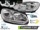 VW GOLF 6 08-12 U-TYPE CHROME DRL SEQ LED INDICATOR Tuning-Tec Fényszóró