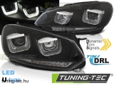 VW GOLF 6 08-12 U-TYPE BLACK DRL SEQ LED INDICATOR Tuning-Tec Fényszóró